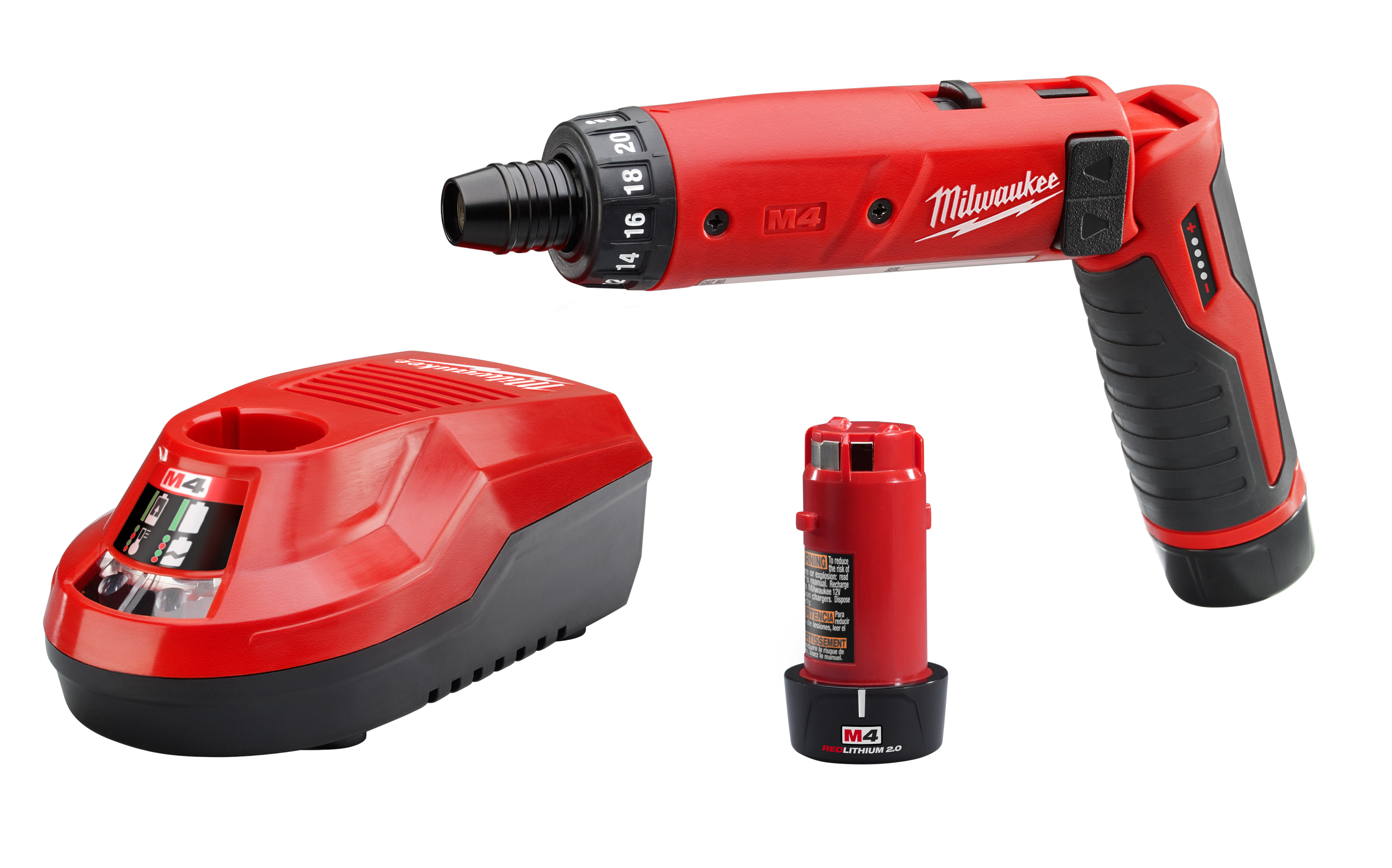 Milwaukee® M4™ 2101-21 Cordless Screwdriver Kit, 1/4 in Chuck, 4 VDC, 44 in-lb Torque, Lithium-Ion Battery