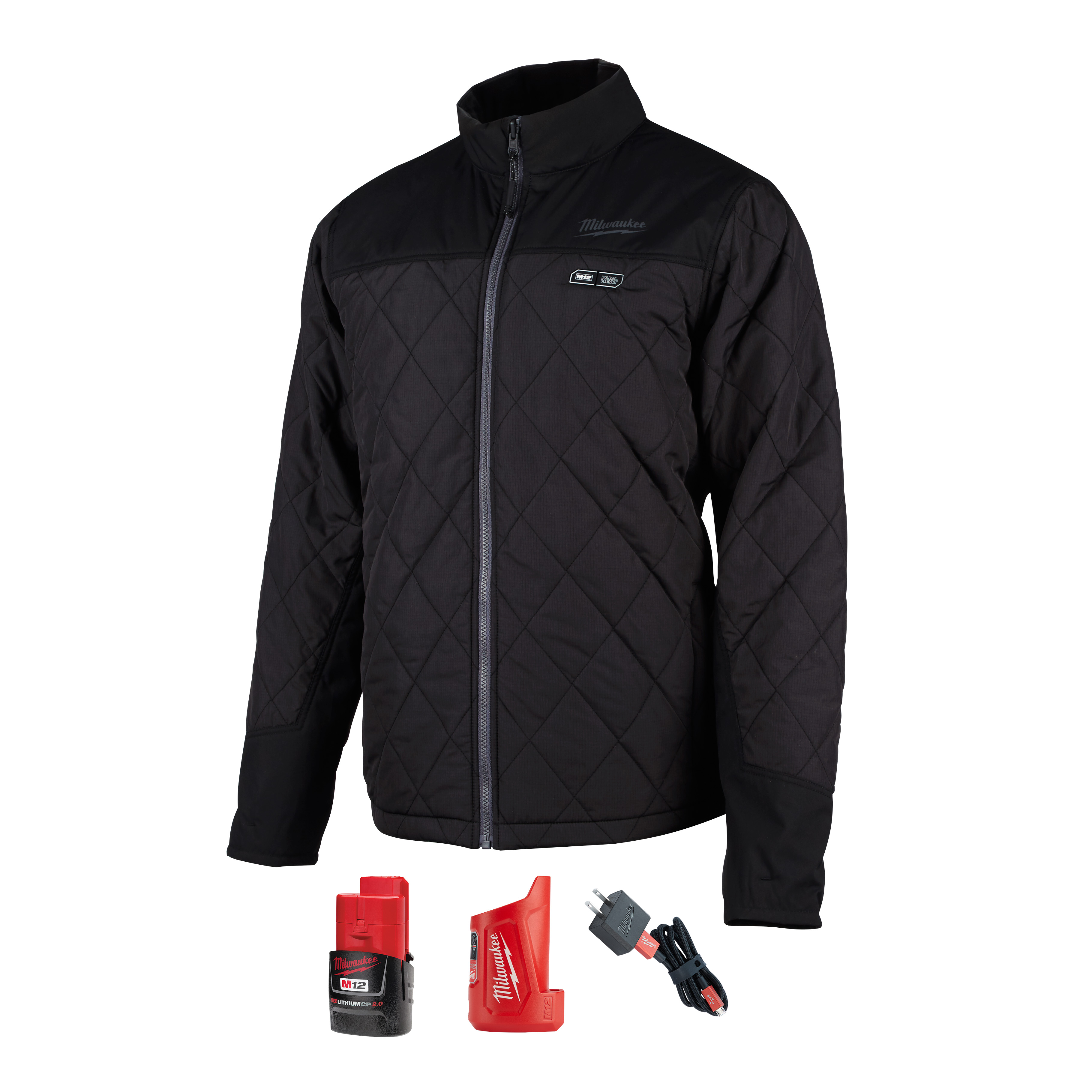 Milwaukee® M12™ 203B-20XL Insulated Heated Jacket, XL, Black, Polyester/Brushed Tricot Lining, 44 to 46 in Chest, Resists: Water and Wind
