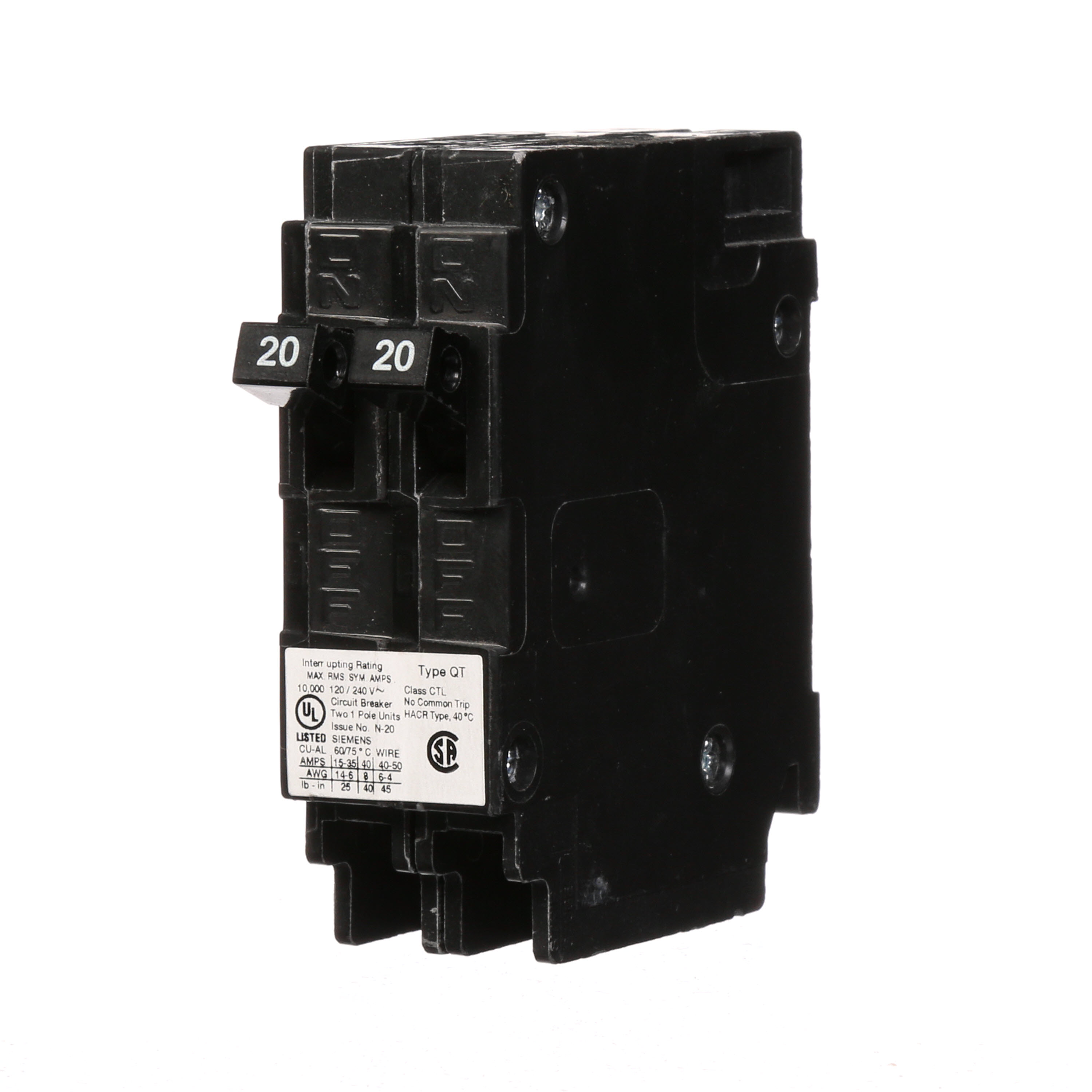 Siemens Q120 Molded Case Circuit Breaker With Insta-Wire, 120 VAC, 20 A, 10 kA Interrupt, 1 Poles, Thermal/Magnetic Trip