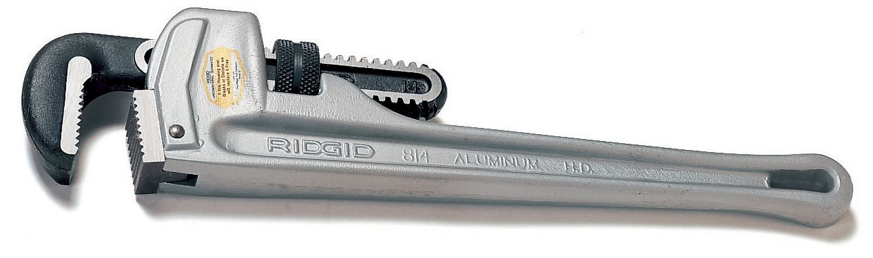 RIDGID® 31100 Straight Pipe Wrench, 2-1/2 in Pipe, Floating Forged Hook Jaw, Aluminum Handle, Knurled Nut Adjustment