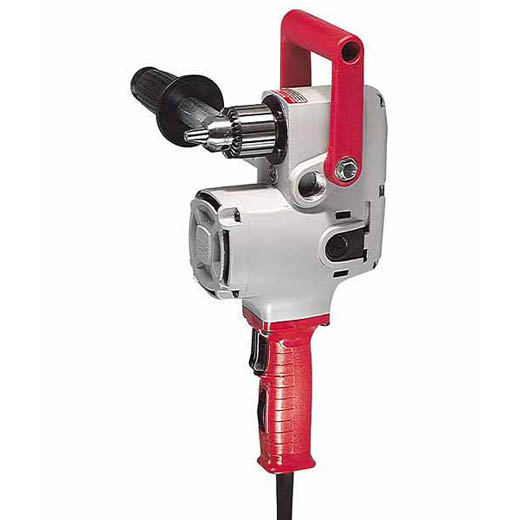 Milwaukee® 1675-6 Hole Hawg® Grounded Heavy Duty Right Angle Drill, 1/2 in Keyed Chuck, 120 VAC, 300 to 1200 rpm Speed, 6-1/2 in OAL, Tool Only