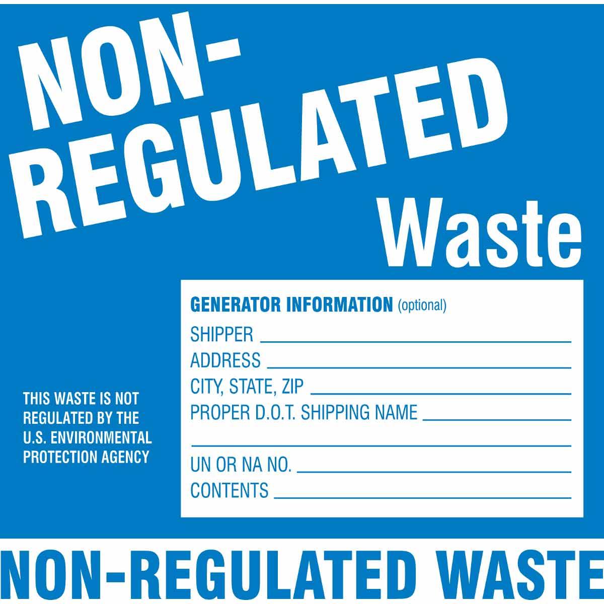 Brady® 121154 Non-Reflective Self-Adhesive Square Hazardous Waste Label, 6 in W, NON-HAZARDOUS WASTE...ETC OPTIONAL INFORMATION SHIPPER____, ADDRESS____, CONTENTS____ Legend, Green on White, B-7569 Adhesive Vinyl Film, 100 per Pack Labels
