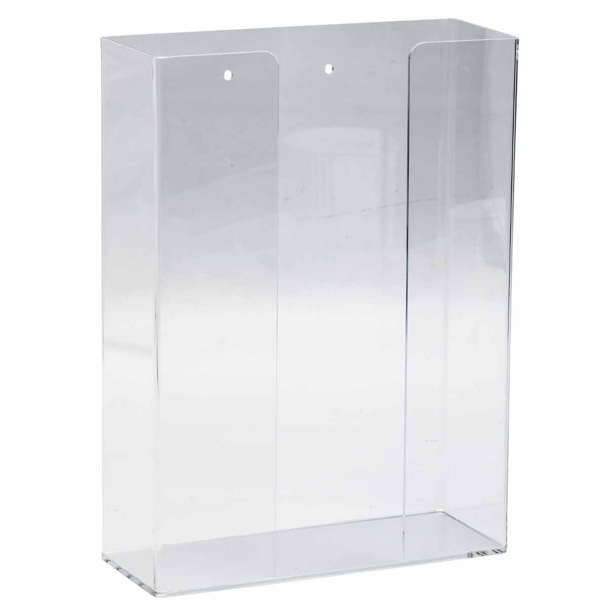 Brady® GD02 Double Box Glove Dispenser, 2-Compartment, Surface/Wall Mount, Hinged Top Dispensing, Acrylic Glass, Clear