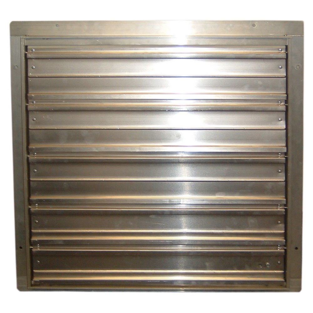 Airmaster® 22661 WC Series Supply Shutter, For Use With 36 in Low Pressure Industrial Duty Direct Drive Wall Fan, Screw Mount, 38 sq-in x 6 in D Inside, Aluminum