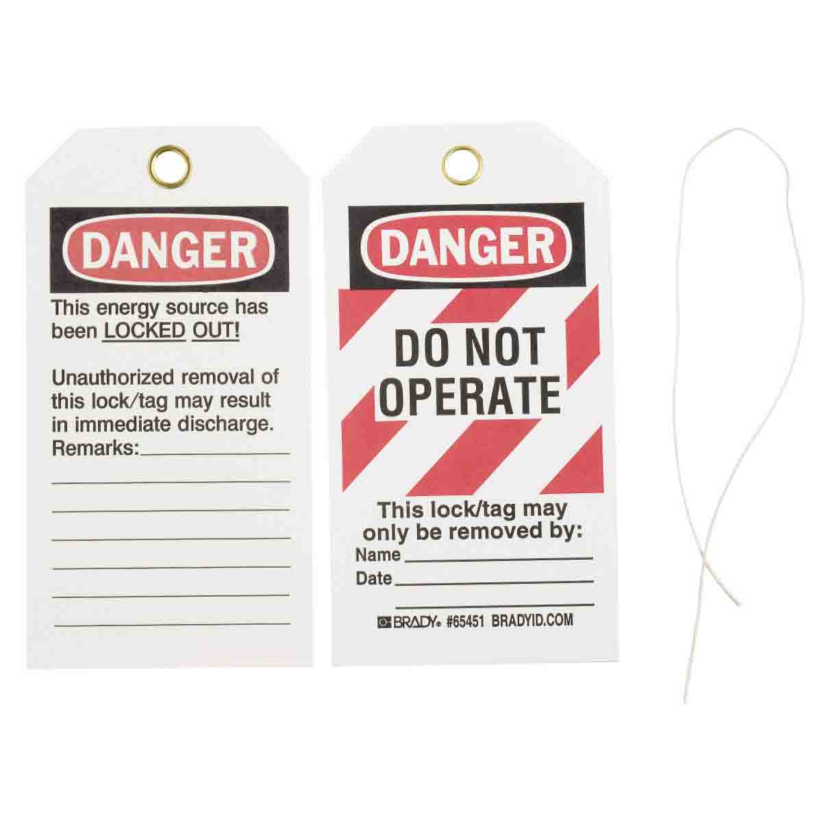 Brady® 65407 Rectangular Lockout Tag, 5-3/4 in H x 3 in W, Black/Red on White, 3/8 in Hole, B-853 Cardstock