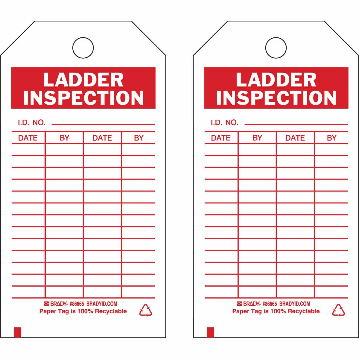 Brady® 86564 Rectangular Inspection and Material Control Tag, 5-3/4 in H x 3 in W, Green on White, 3/8 in Hole, B-851 Polyester