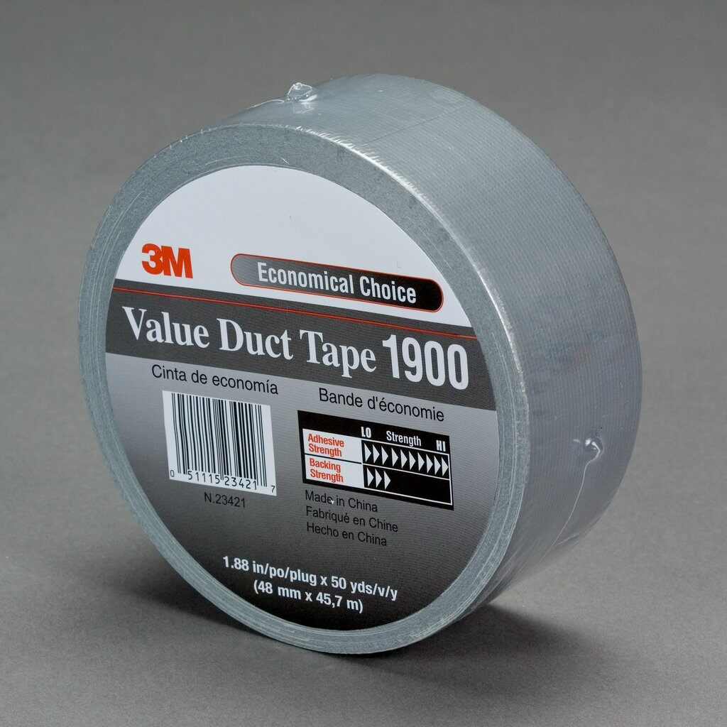 Polyken® 1086627 223 Multi-Purpose Duct Tape, 55 m L x 72 mm W, 10 mil THK, Rubber Adhesive, Polyethylene Coated Cloth Backing, Silver
