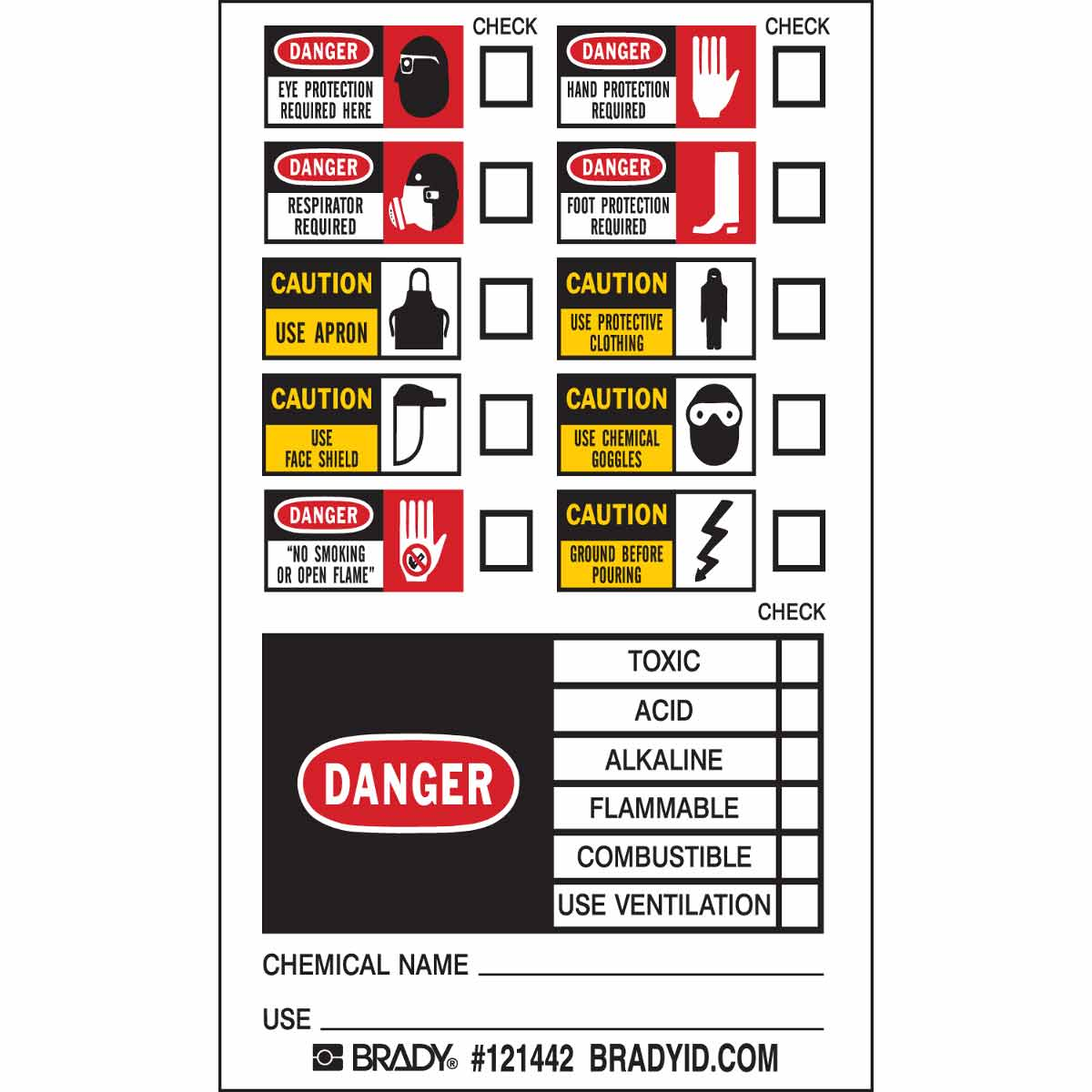 Brady® 121165 Non-Reflective Rectangular Self-Adhesive Write-On Safety Label, 3 in W, Black/Blue/Red/Yellow on White, B-7569 Adhesive Vinyl Film, 500 per Roll Labels