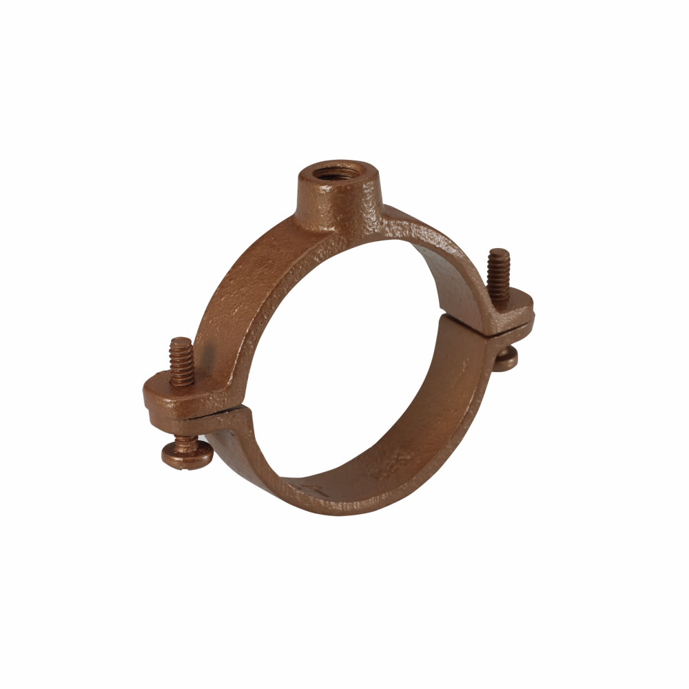 B-Line B3198RCT-11/4 2-Piece Hinged Extension Split Pipe Clamp, 1-1/4 in Conduit, 180 lb Load, Malleable Iron