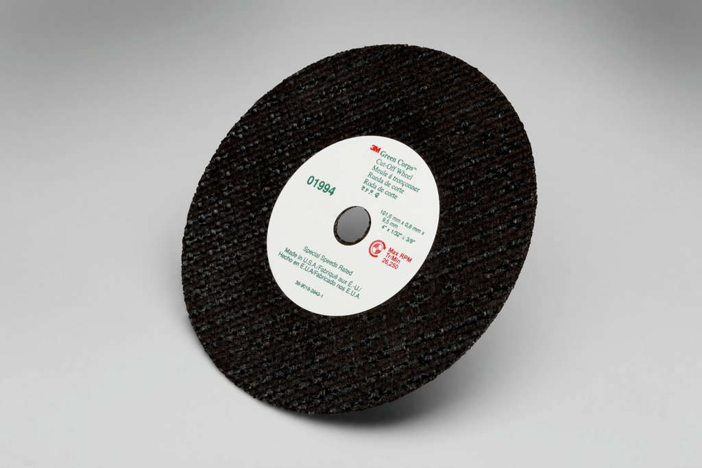 Green Corps™ 01985 Straight Cut-Off Wheel, 3 in Dia x 1/32 in THK, 3/8 in Center Hole, Ceramic Abrasive