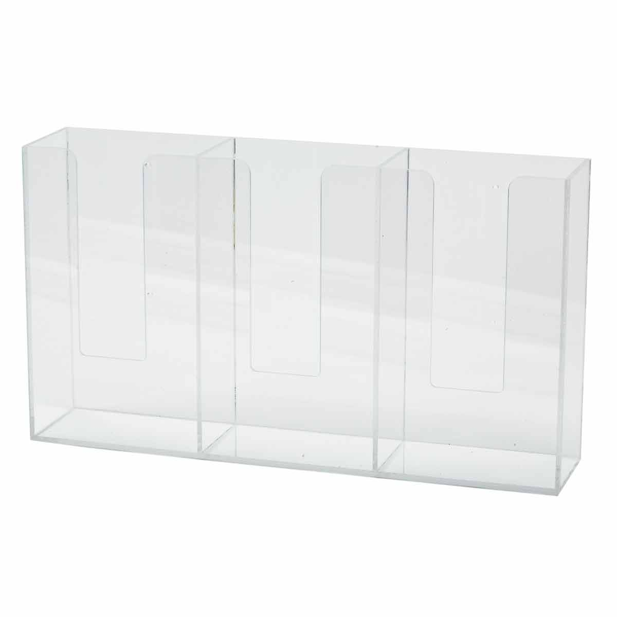 Brady® GD03 Triple Box Glove Dispenser, 3 Compartment, Surface/Wall Mount, Hinged Top Dispensing, Acrylic Glass, Clear