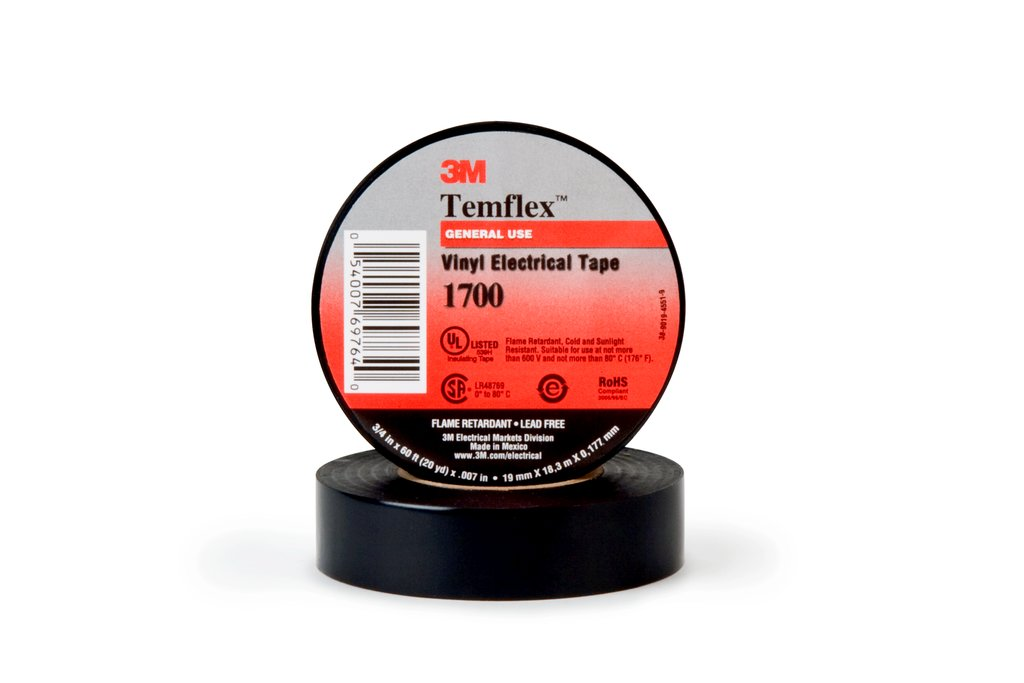 Temflex™ 054007-69764 1700 General Grade Electrical Tape, 60 ft L x 3/4 in W, 7 mil THK, Vinyl, Rubber Adhesive, PVC Backing, Black