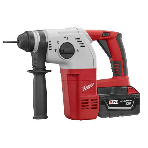Milwaukee® 0756-20 M28™ Cordless Rotary Hammer, 1 in Keyless/SDS Plus® Chuck, 28 VDC, 0 to 1400 rpm No-Load, Lithium-Ion Battery