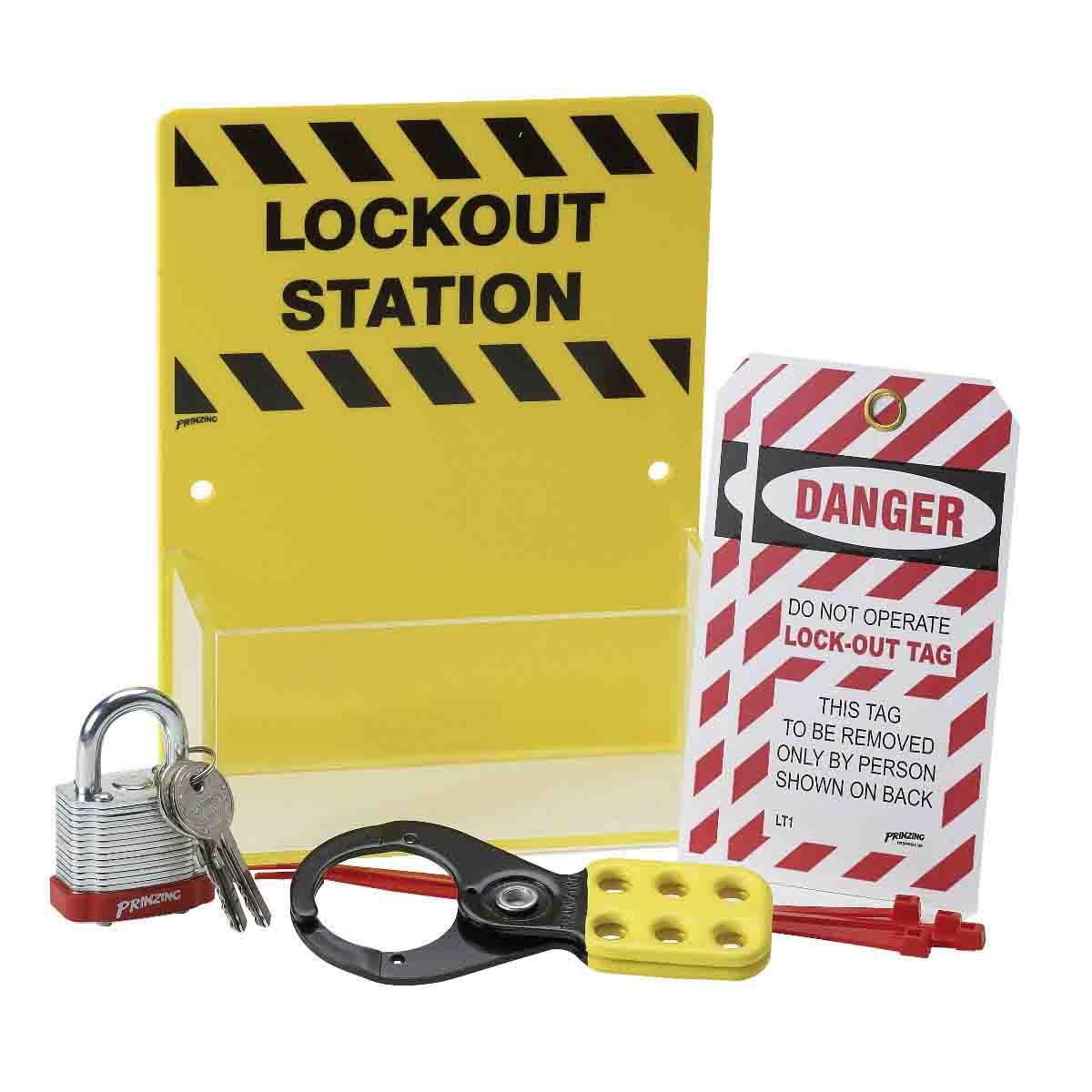 Brady® 65679 Padlock Center Lockout Station Only, 10 Padlocks, 19 in H x 12 in W, Wall Mount, Language: English
