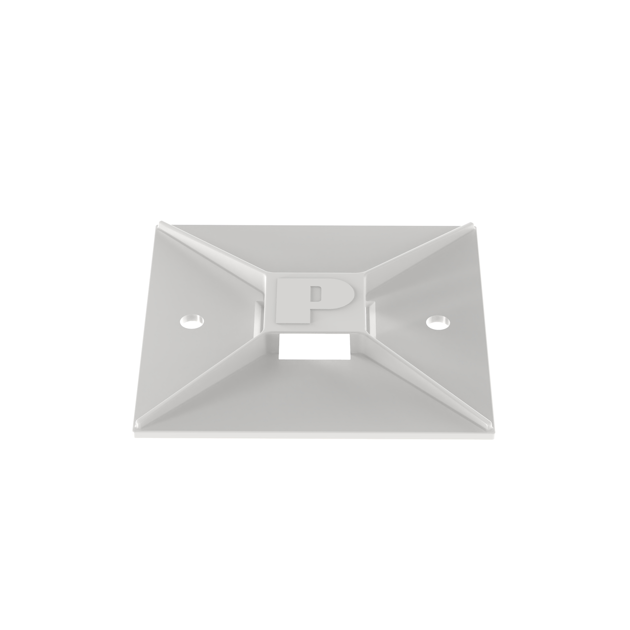 Panduit® ABM3H-A-L Cable Tie Mount, 4-Way, Rubber Adhesive Tape Mount, 0.35 in W Tie, Nylon 6.6, White