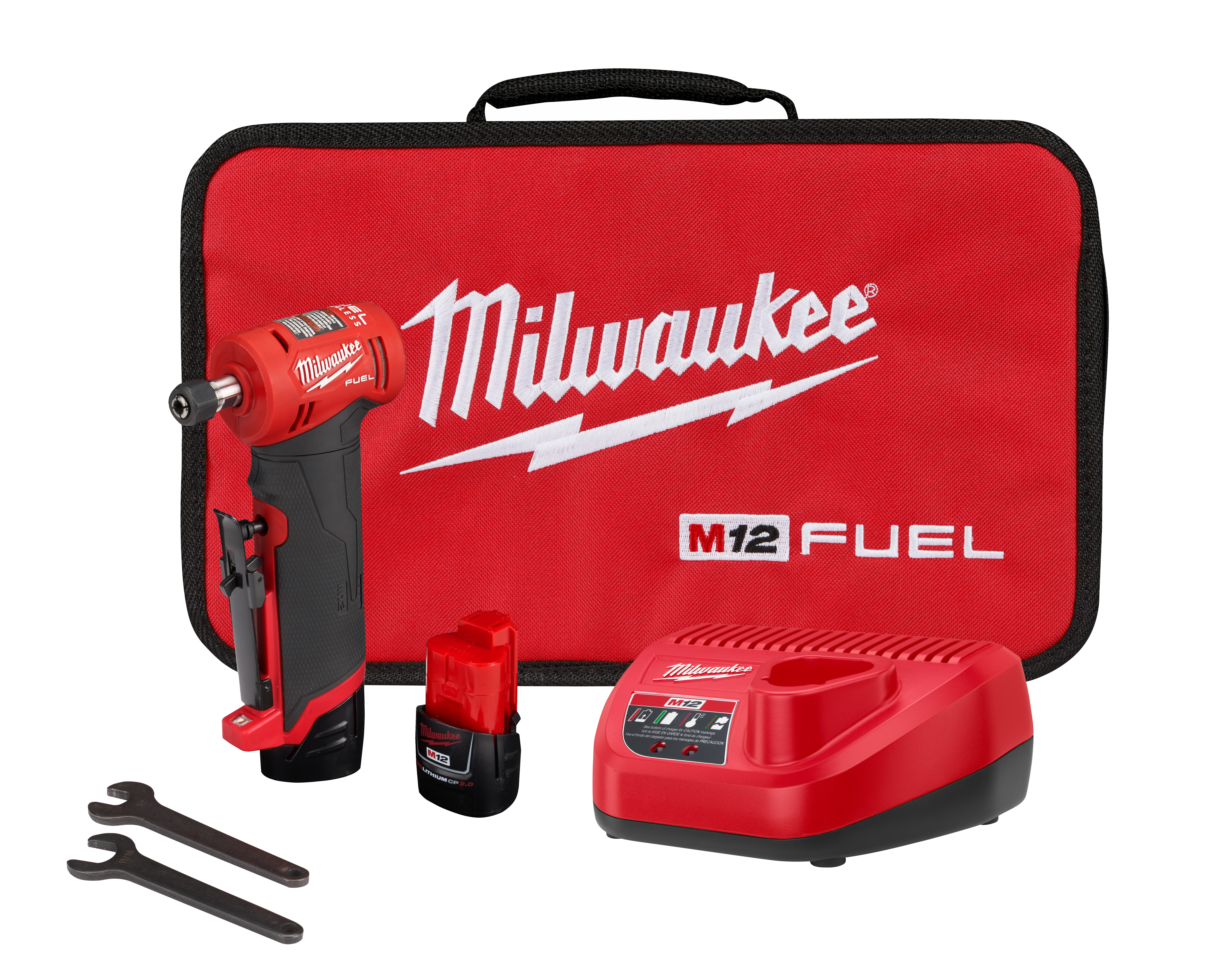 Milwaukee® M12 FUEL™ 2485-20 Right Angle Cordless Die Grinder, 12 V, 2 Ah M12™ REDLITHIUM™ CP2.0 Lithium-Ion Battery