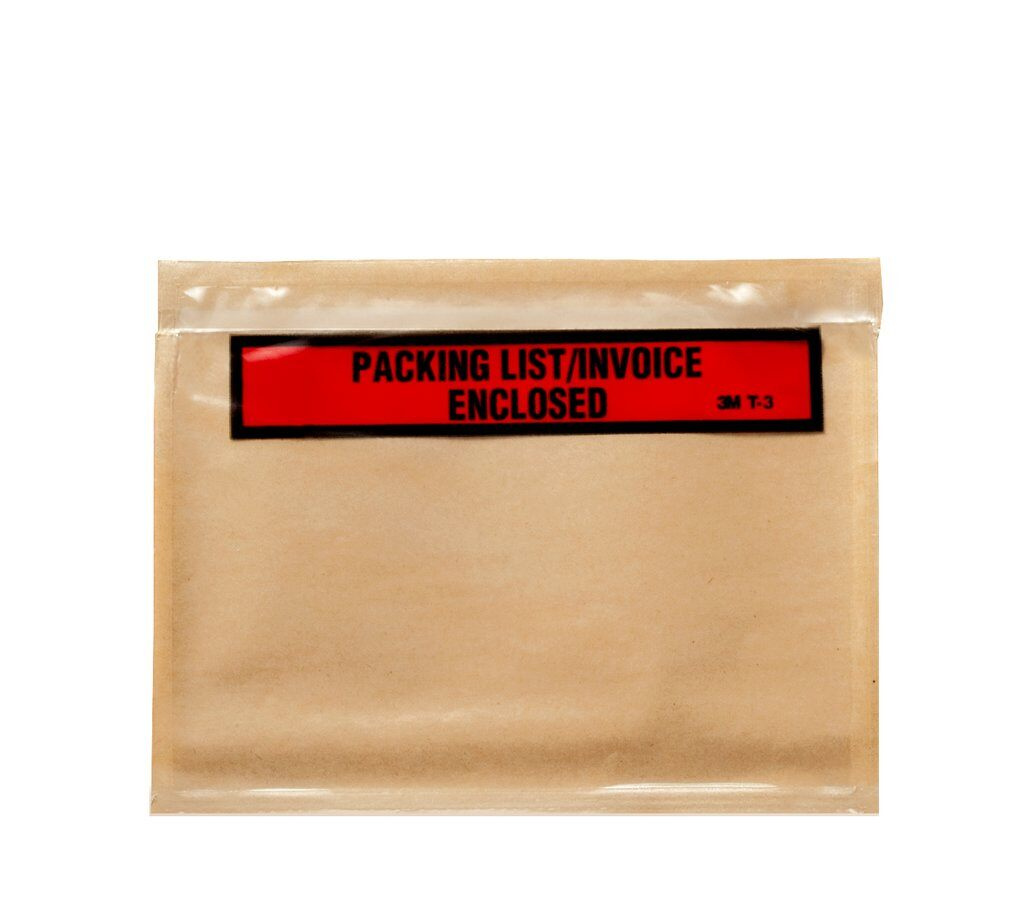 3M™ PLE-T1-Bulk Top Printed Packing List Envelope, 5-1/2 in L x 4-1/2 in W, Polyethylene Film Backing, Clear