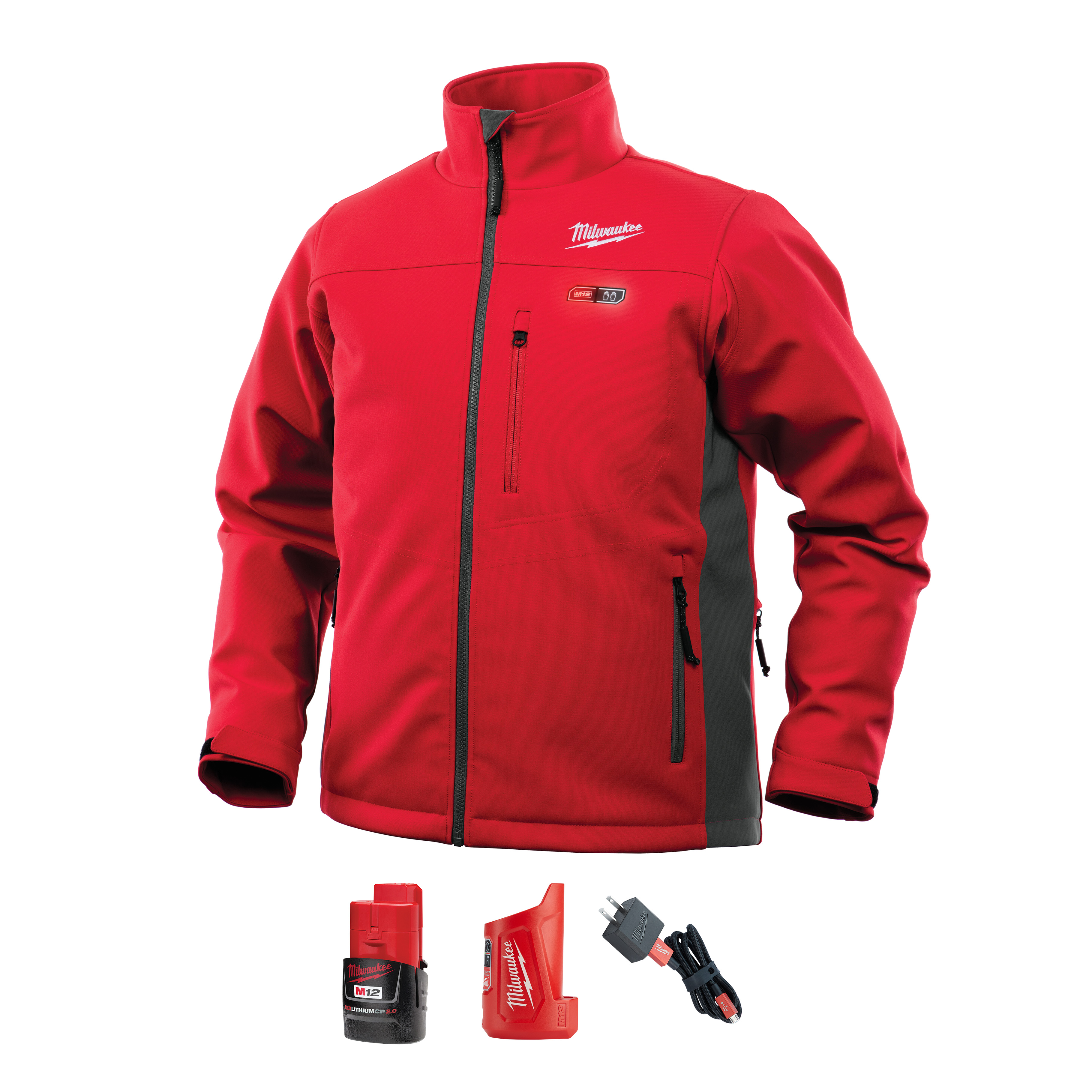 Milwaukee® 202R-20XL Insulated Heated Jacket, XL, Red, Polyester/Brushed Tricot Lining, 44 to 46 in Chest, Resists: Water and Wind