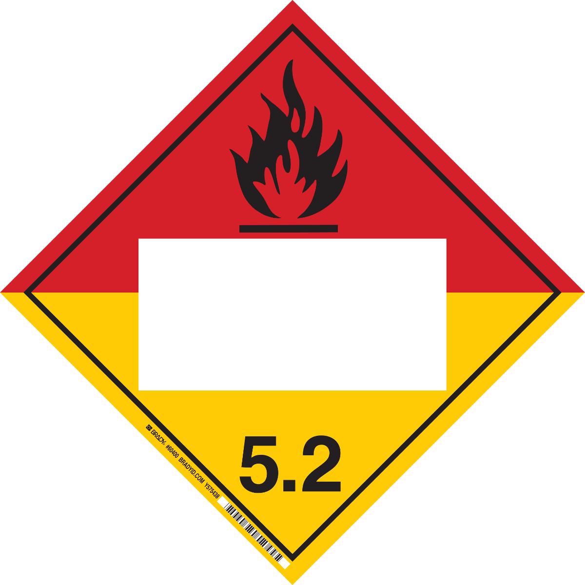 Brady® 60409 Diamond DOT Vehicle Placard Sign, 10-3/4 in W, B-120 Fiberglass, White Background, Red Legend