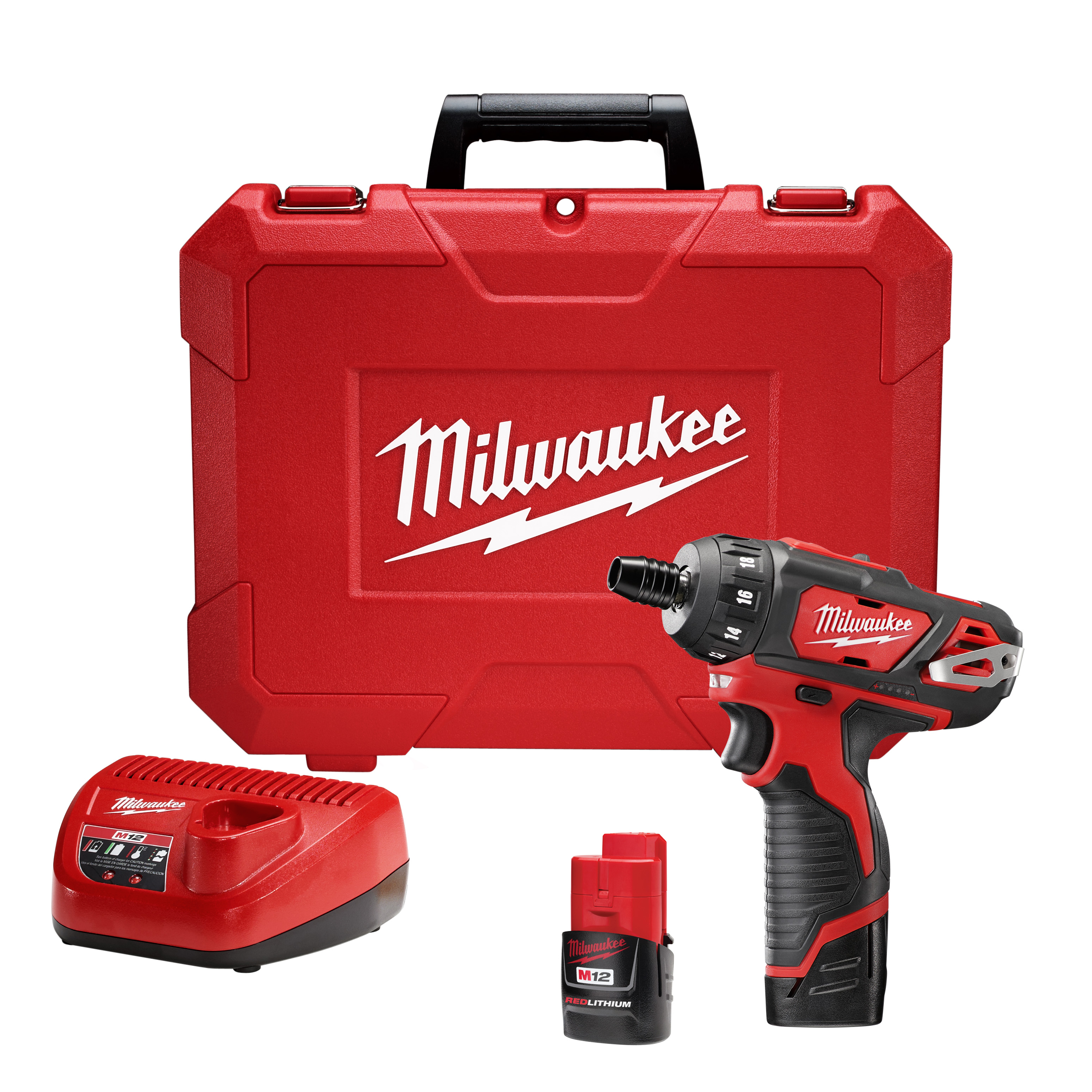 Milwaukee® 2401-22 M12™ Compact Lightweight Cordless Screwdriver Kit, 1/4 in Chuck, 12 VDC, 150 in-lb Torque, Lithium-Ion Battery
