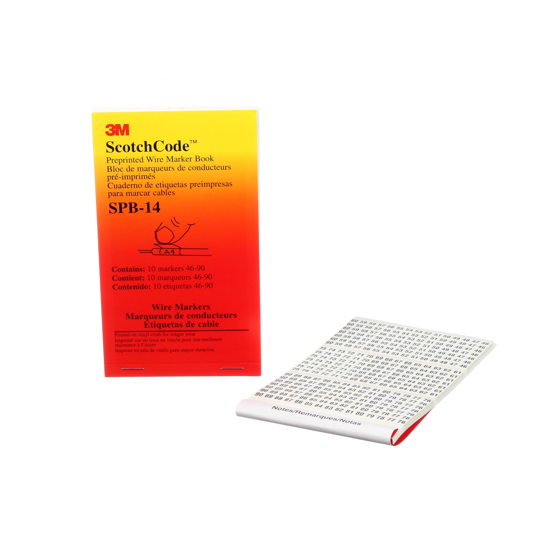 3M™ ScotchCode™ 054007-49953 SPB Pre-Printed Wire Marker Book, 1.37 in L x 0.22 in W, Black/White, Vinyl Impregnated Cloth