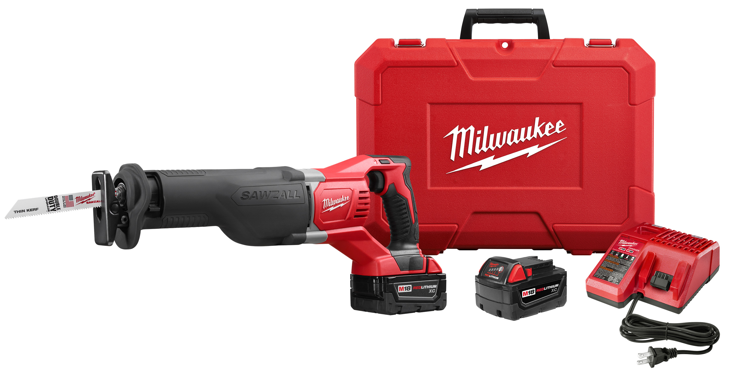 Milwaukee® M18™ SAWZALL™ 2621-21 Cordless Reciprocating Saw Kit, 1-1/8 in L Stroke, 3000 spm, In-Line Cut, 18 VDC, 19 in OAL