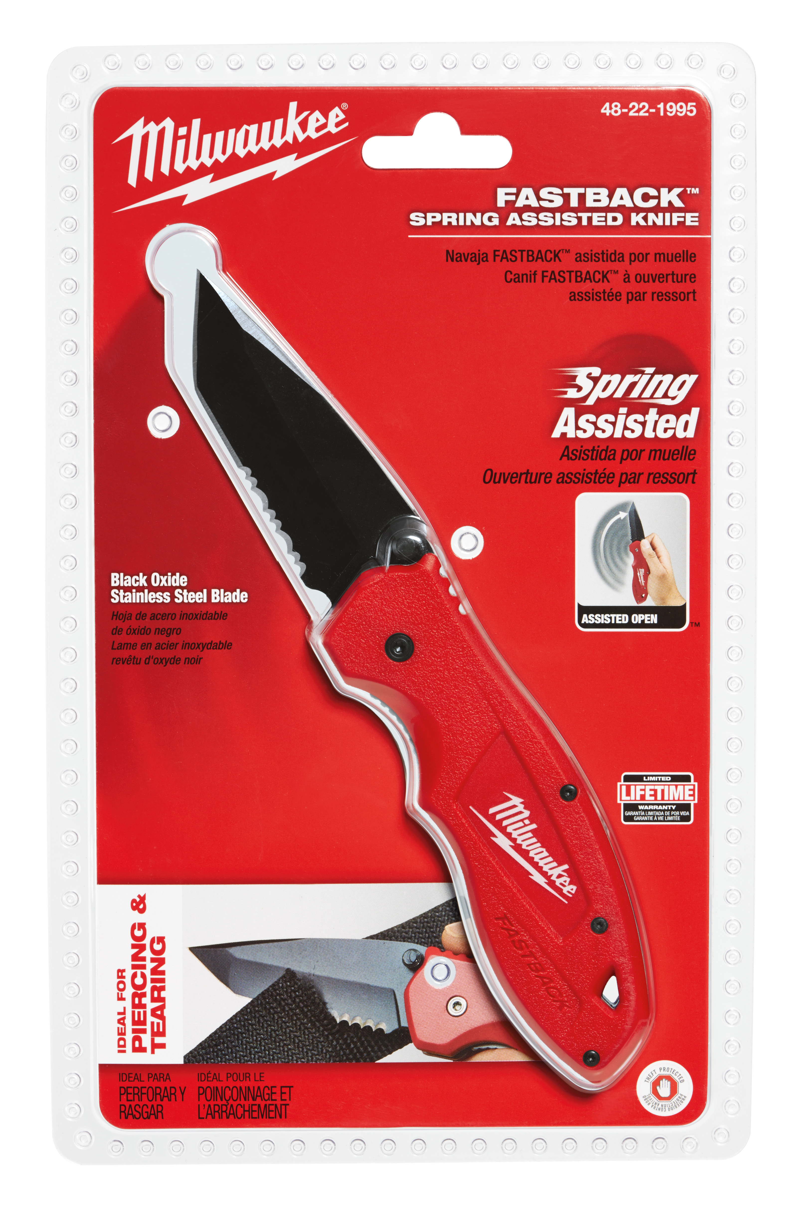 Milwaukee® 48-22-1990 Fastback™ Folding Liner Lock Pocket Knife, Stainless Steel Drop Point Smooth Blade, 3 in L Blade, Fine Edge, Yes