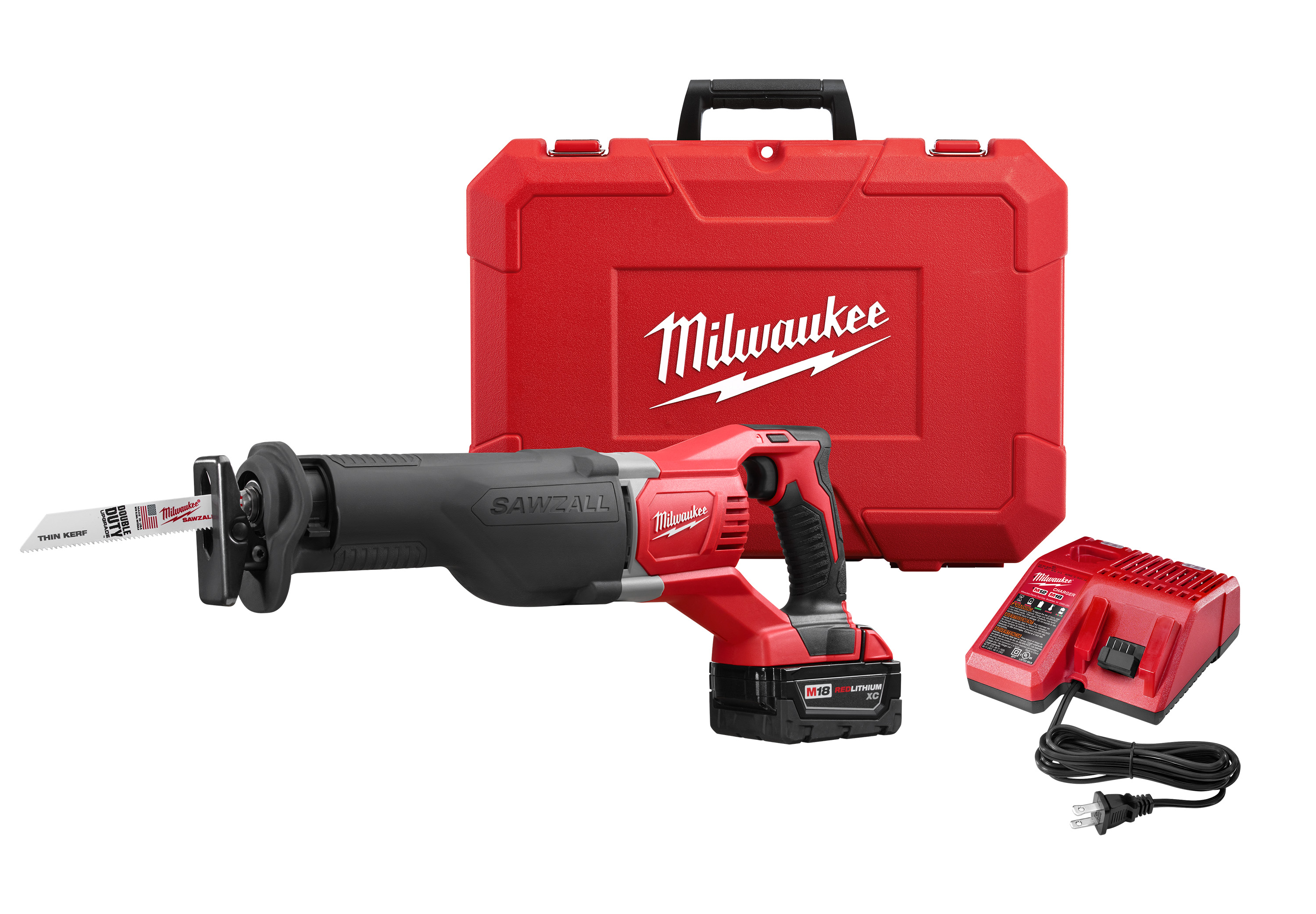 Milwaukee® HACKZALL™ 2420-22 M12™ Fixed Shoe Cordless Reciprocating Saw Kit, 1/2 in L Stroke, 0 to 3000 spm, Straight Cut, 12 VDC, 11 in OAL