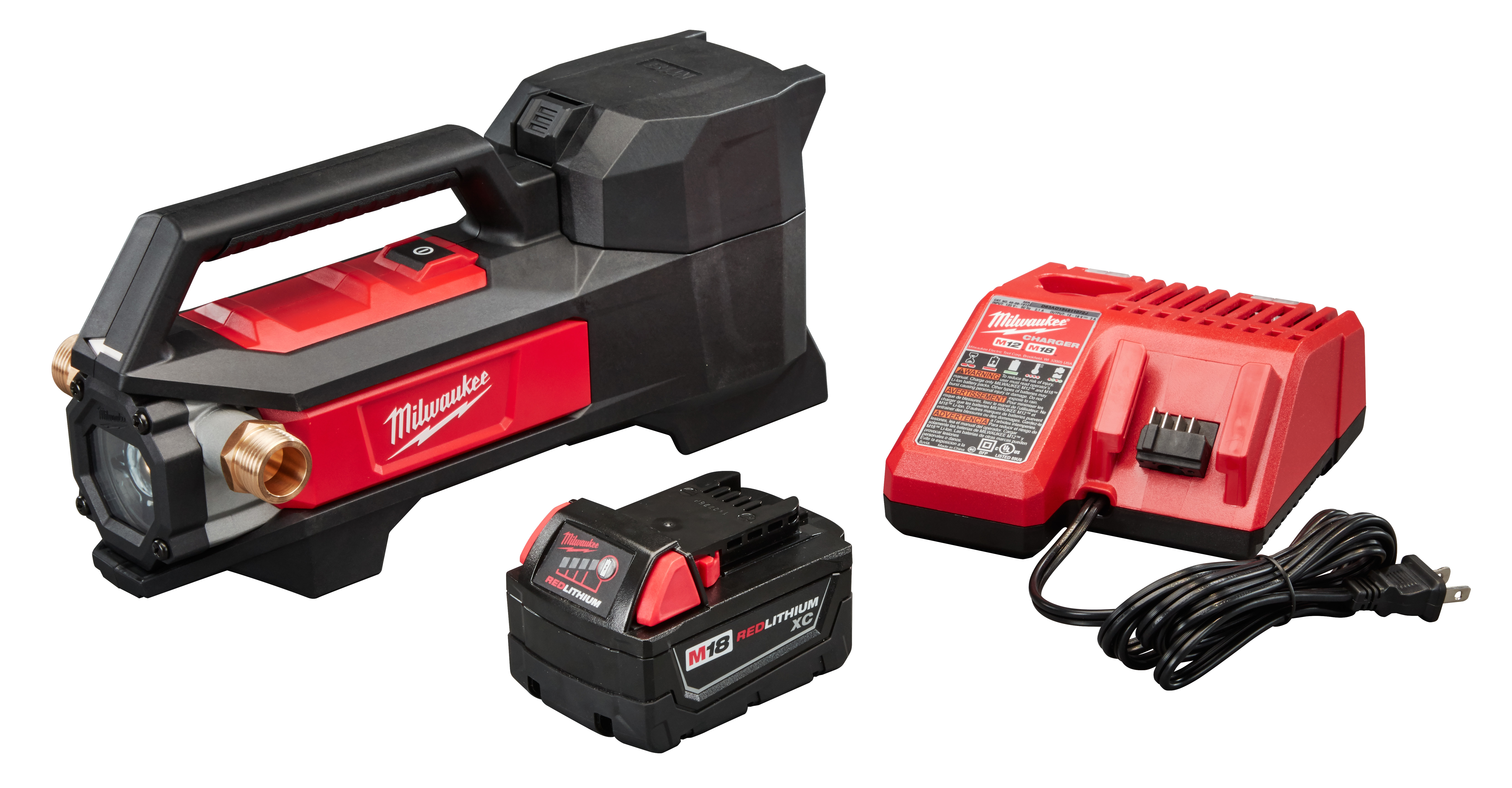 Milwaukee® M18™ 2771-20 Cordless Transfer Pump, 480 gph Flow Rate, 3/4 in Inlet x 3/4 in Outlet, 1/4 hp, Nitrile Rubber/Reinforced Plastic, Import