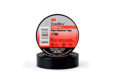 3M™ Temflex™ 054007-43962 1-Sided Economy-Grade General Purpose Electrical Tape, 66 ft L x 1 in W, 7 mil THK, Rubber Adhesive, PVC Backing, Black