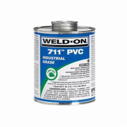 Weld-On® 711™ 10123 PVC Cement With Applicator Cap, 0.5 pt Can, Heavy Syrupy Liquid, Gray, 0.966