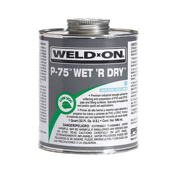 Weld-On® P-75™ Wet R Dry™ 10250 Low VOC Primer With Applicator Cap, For Use With All Types, Classes and Schedules of PVC and CPVC Pipe and Fittings, Aqua Blue, 1/2 pt Container