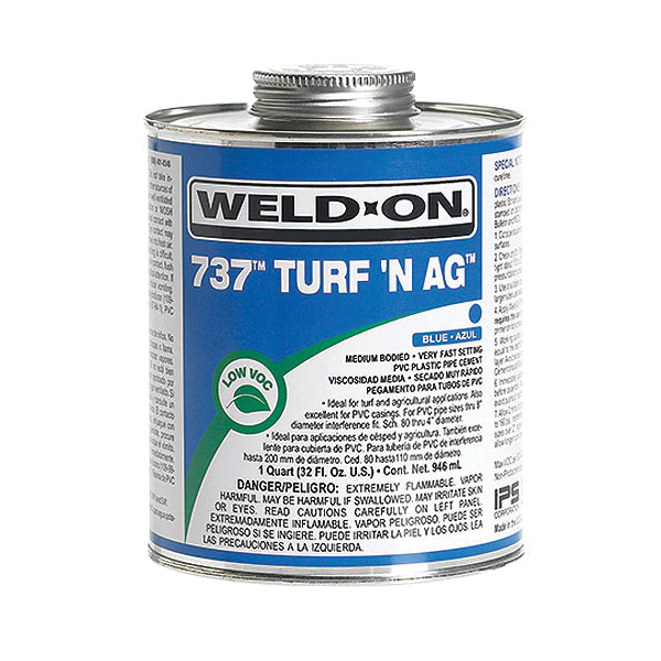 Weld-On® 737™ Turf N Ag™ 11984 Low VOC Medium Body Solvent Cement With Applicator Cap, 0.5 pt Container, Blue