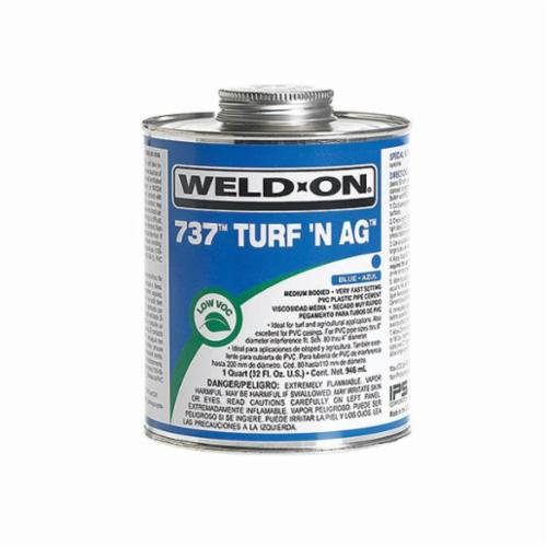 Weld-On® 737™ Turf N Ag™ 10989 Low VOC Medium Body Solvent Cement With Applicator Cap, 1 qt Container