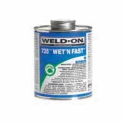 Weld-On® 735™ Wet N Fast™ 12495 Low VOC Medium Body Solvent Cement With Applicator Cap, 1 qt Container, Blue