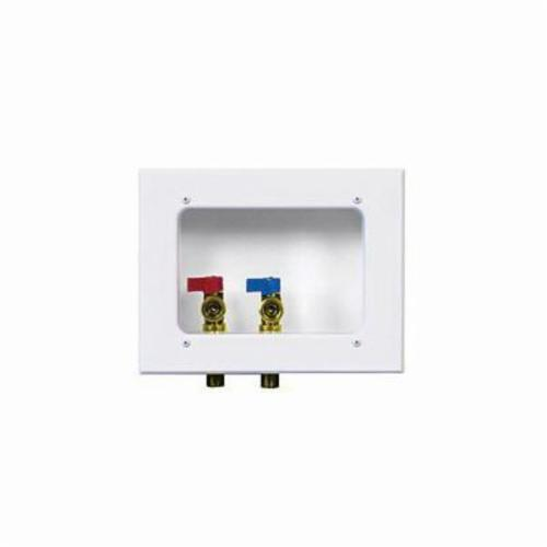 Guy Gray™ 82112 Reversible Drain Washing Machine Outlet Box With Valve, Steel, White Powder Coated