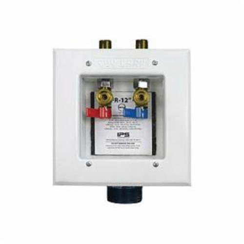 Guy Gray™ 82583 FR-12 Fire Rated Washing Machine Outlet Box With Valve and Hammer Arrester, Steel, White Powder Coated, Domestic