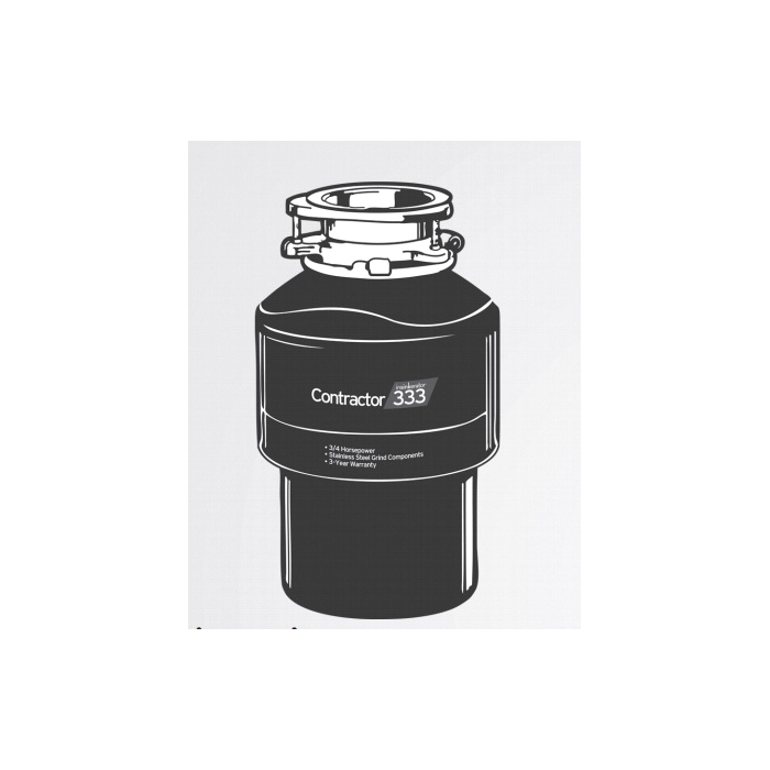 Insinkerator® CNTR333 Continuous Feed Garbage Disposal, 1-1/2 in Drain, 3/4 hp, 120 VAC, 1725 rpm Grinding, 26 oz Grinding Chamber