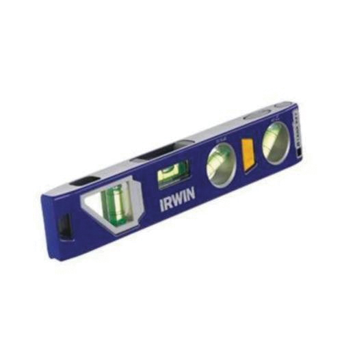 Irwin® 1794153 250 Magnetic Standard Torpedo Level, 9 in L, 4 Vials, (1) 22.5 deg, (1) 45 deg, (1) Level, (1) Plumb Vial Position, 0.029 deg, Aluminum