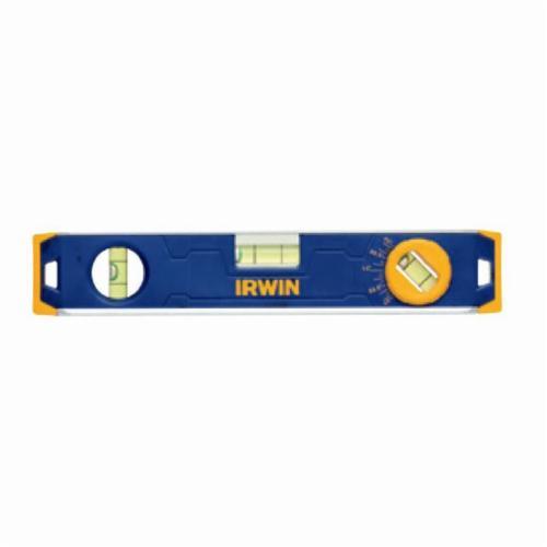 Irwin® 1794155 150 Magnetic Standard Torpedo Level, 9 in L, 3 Vials, (1) Level, (1) Plumb, (1) Vari-Pitch Vial Position, 0.029 deg, Aluminum