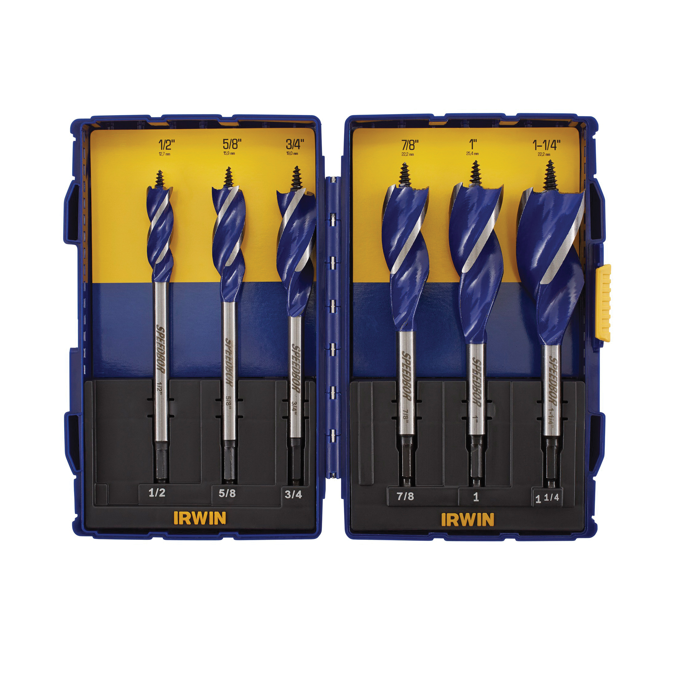 Irwin® Speedbor® Blue-Groove™ 1792761 Standard Length Spade Bit Set, Imperial, 1/4 in Min Drill Bit, 1-1/2 in Max Drill Bit, 17 Pieces, For Use With Quick-Change Chucks, HSS, Bright
