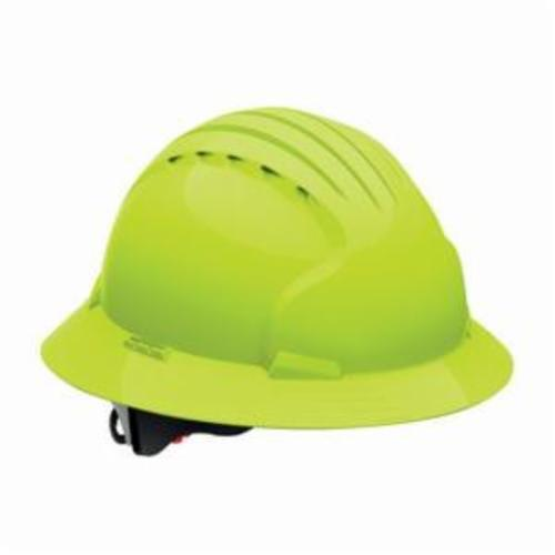 JSP® 280-EV6151S-10 Evolution® 6151S Deluxe Non-Vented Short Brim Hard Hat, SZ 6-5/8 Fits Mini Hat, SZ 8 Fits Max Hat, HDPE, 6-Point Polyester Strap Suspension, ANSI Electrical Class Rating: Class E, ANSI Impact Rating: Type 1, Wheel Ratchet Adjustment