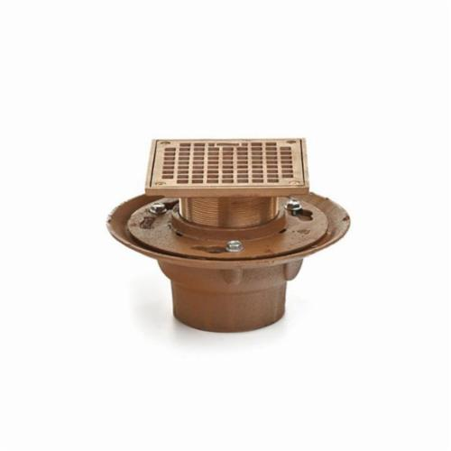 Smith® 2005Y02BA-P050 Adjustable Floor Drain With Strainer Head, 2 in Outlet, No Hub Connection, Cast Iron Drain