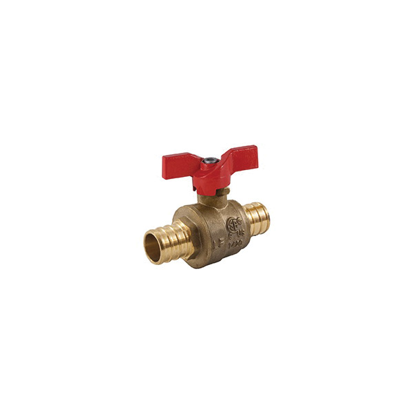 Jomar Valve® 103-524PG 2-Piece Ball Valve With Handle, 3/4 in Nominal, Crimp PEX End Style, Brass Body, Standard Port, PTFE/EPDM Softgoods