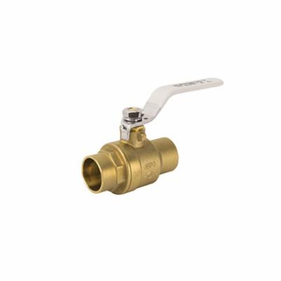 Jomar Valve® 150-114G 2-Piece Ball Valve With Handle, 3/4 in Nominal, Solder End Style, Brass Body, Full Port, PTFE/FKM Softgoods