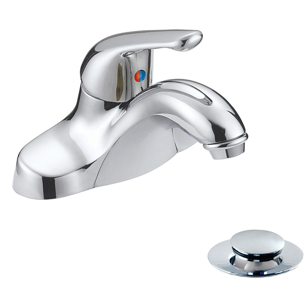Jones Stephens™ 1554010 Bathroom Faucet, Polished Chrome, 1 Handles, Plastic Pop-Up Drain, 1.5 gpm