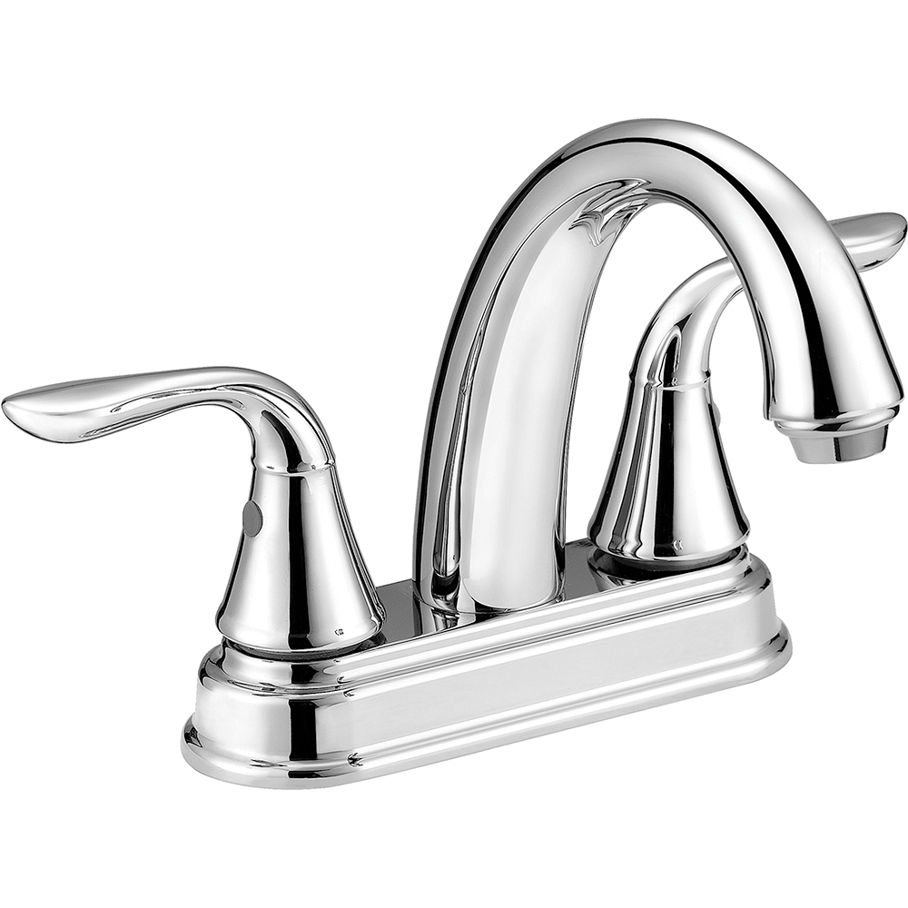 Jones Stephens™ 1554030 Bathroom Faucet, Polished Chrome, 2 Handles, Plastic Pop-Up Drain, 1.5 gpm Flow Rate