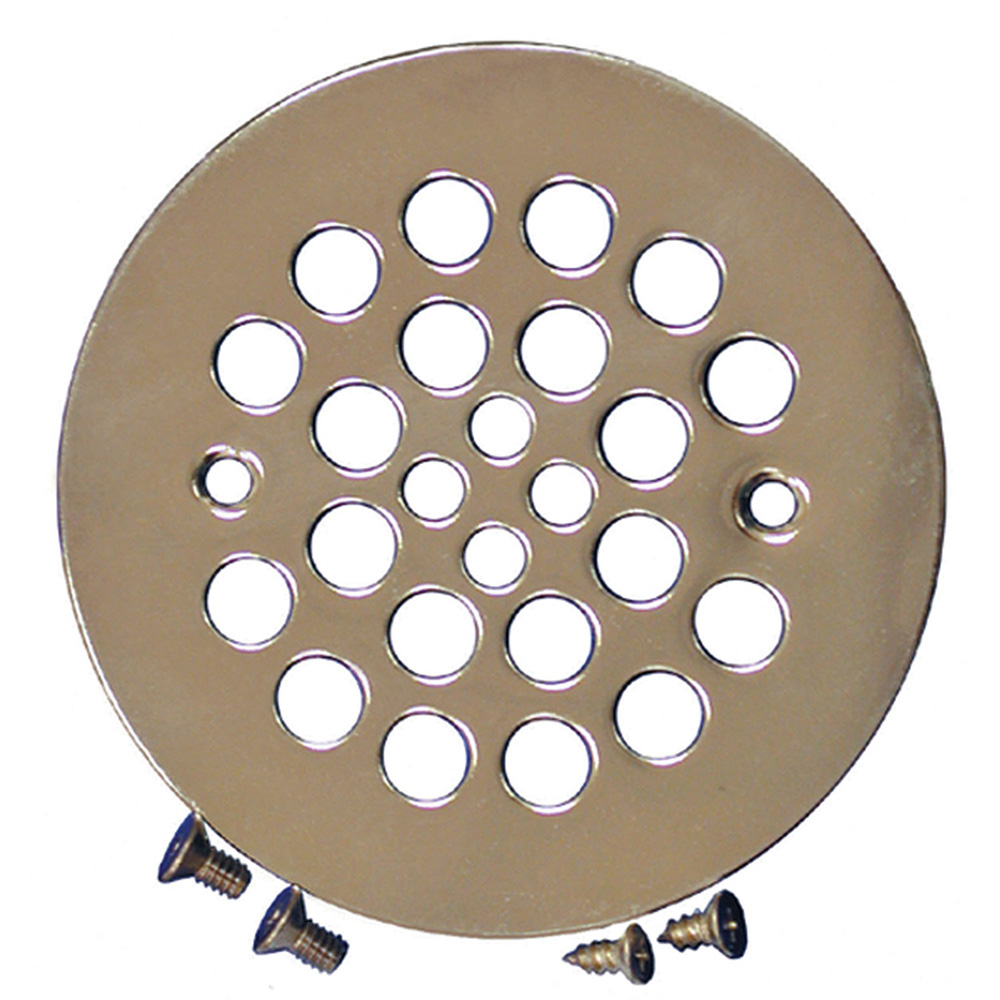 Jones Stephens™ D41102 Round Strainer With Tapping Screws, 4-1/4 in Dia Nominal, Polished Brass, Polished Brass