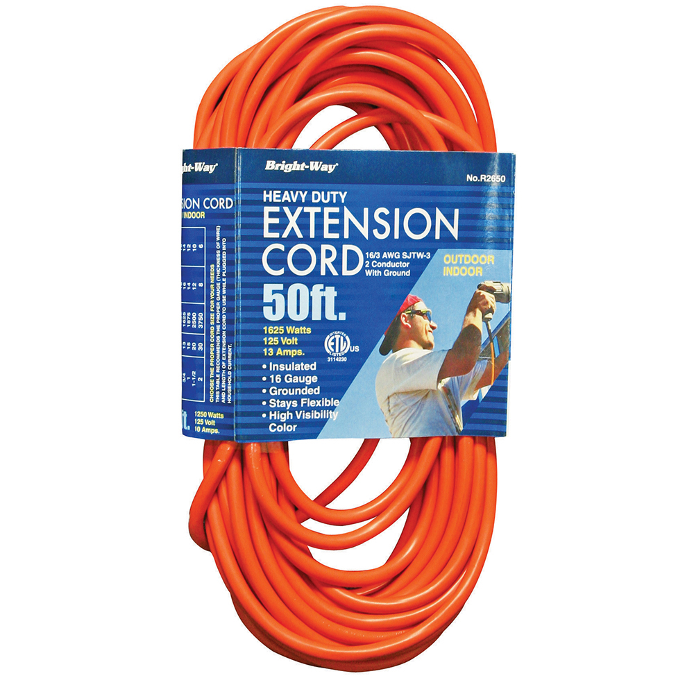 Jones Stephens™ E25002 Heavy Duty Extension Cord, 16/3 AWG SJT, 50 ft L Cord