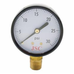 Jones Stephens™ G60030 Pressure Gauge, 0 to 30 psi, 1/4 in MNPT Connection, 2 in Dial, 2.5-2 %